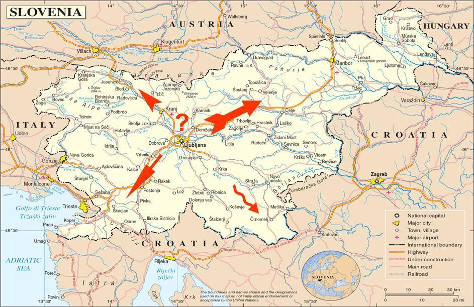 Slovenia map Where to go 2