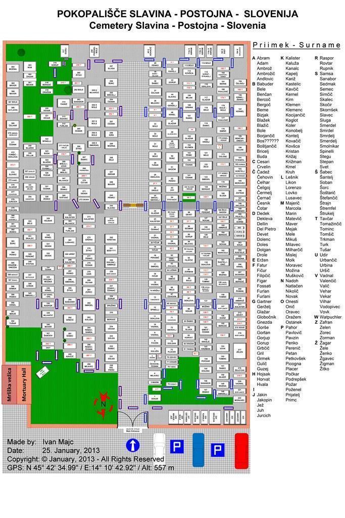 Pokopalisce Cemetery Slavina Map 1024 - 768